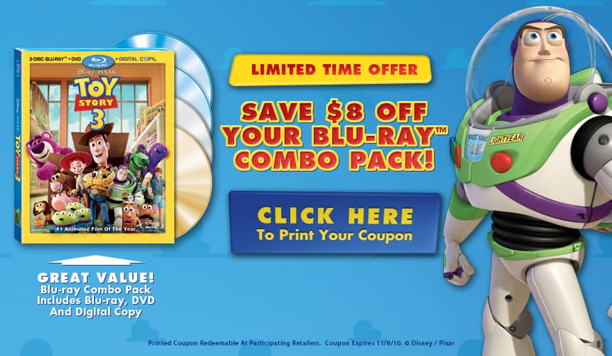 Disney's Toy Story 3 Blu-ray DVD Combo Pack Coupon | $8 Off!