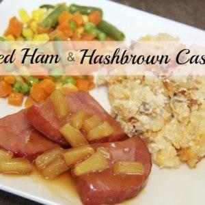 Hashbrown Casserole with Glazed Ham