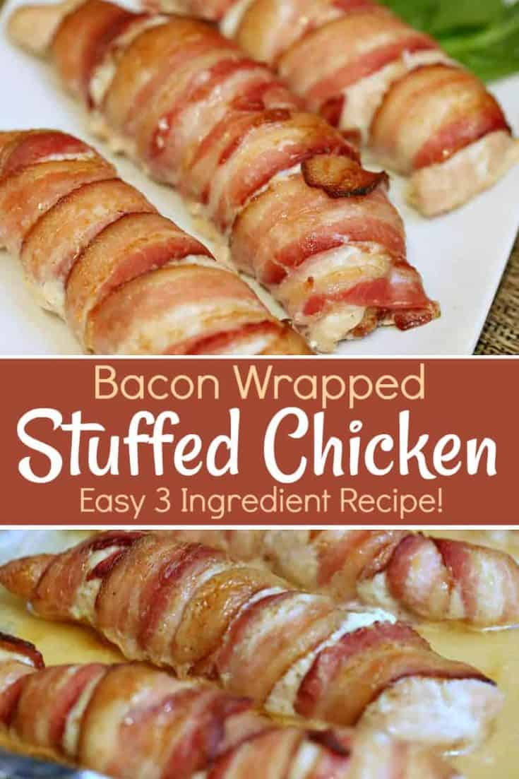 This easy 3 ingredient Bacon Wrapped Stuffed Chicken is full of flavoured cream cheese and wrapped in bacon love - which is crisp bacon. #baconwrapped #stuffedchicken #easyrecipe
