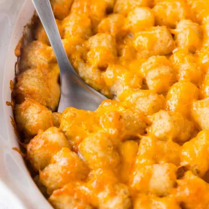 Tater Tot Casserole is a fun recipe that is easy to make and a one-dish meal that is most definitely kid-approved!