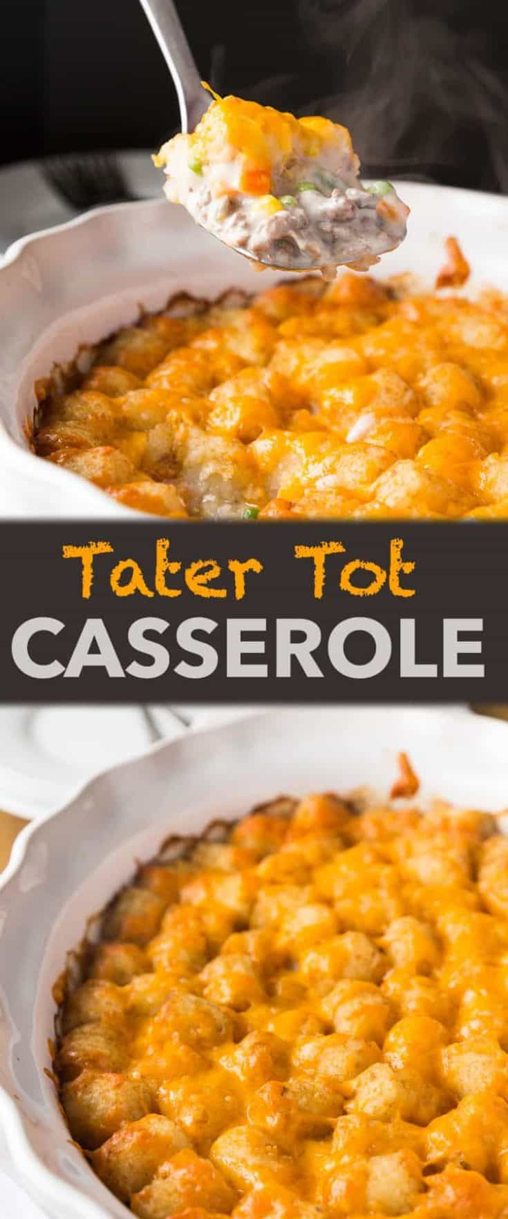 Tater Tot Casserole is a fun recipe that is easy to make and a one-dish meal that is most definitely kid-approved! #tatertot #tatertotcasserole #casserole #easyrecipe
