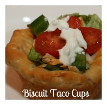 Delicious and just plain cute - Biscuit Taco Cups are a must-try. Using biscuits instead of taco shells, less mess and a nice change of taste.
