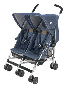 Maclaren Denim Twin Triumph ~ Double Stroller