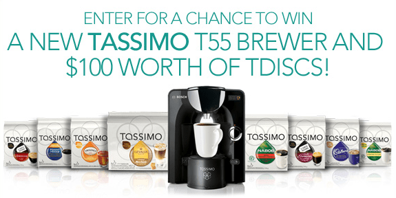 Win a TASSIMO T55 Brewer & $100 worth of T DISCs! {30 Winners}