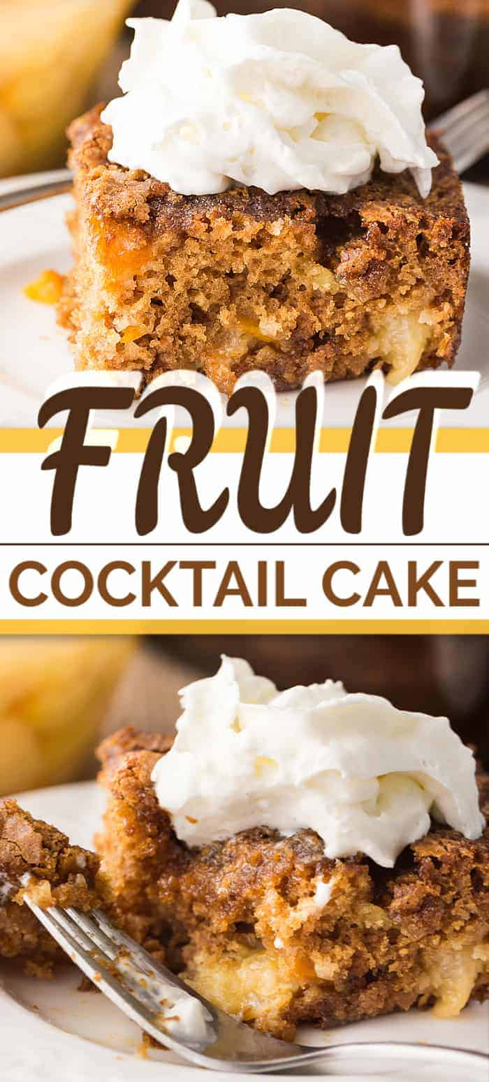 This FRUIT COCKTAIL CAKE is possibly one of the easiest dessert cake recipes to make. It has an amazing taste, and is moist, sweet and best served warm with a dollop of whipped cream. Perfection! #fruitcocktailcake #fruitcocoktail #cakerecipe #easycake #simplecake #easydessert #dessertrecipe