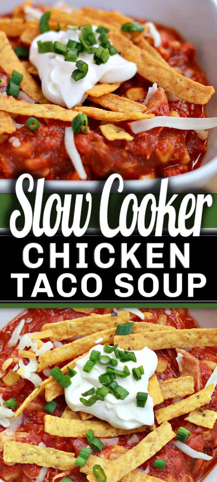 I love this creamy SLOW COOKER CHICKEN TACO SOUP recipe! Since our days have turned colder, it's so comforting and with such a great taste! It's hearty, full of flavour and kid-approved! #slowcooker #crockpot #souprecipe #tacosoup