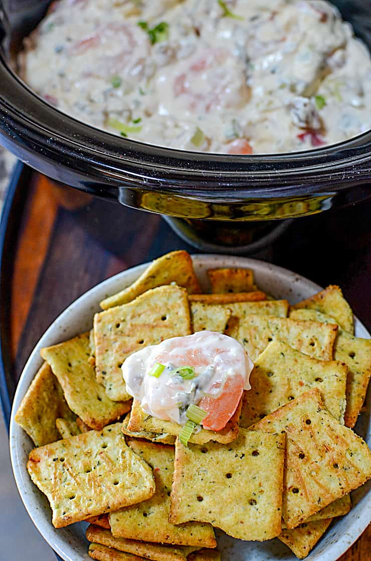 Hot Shrimp Dip is one of my favourite appetizer dip recipes. It's a creamy, cheesy, seafood perfection in every bite.