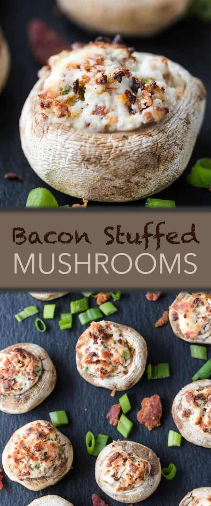5-ingredient Bacon Stuffed Mushrooms are stuffed with crispy, salty bacon and cheese then broiled to perfection. the perfect party appetizer recipe! #stuffedmushrooms #appetizer #appetizerrecipe
