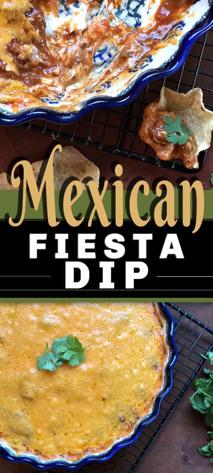How could you not love the appetizer recipe, MEXICAN FIESTA DIP? Smothered with cheese and that rich creamy taste, this layered dip is so popular at parties and potlucks. The perfect chip dip appetizer recipe! #diprecipe #mexicandip #appetizer