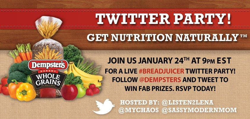 Come to the #BreadJuicer Twitter Party with Dempsters!