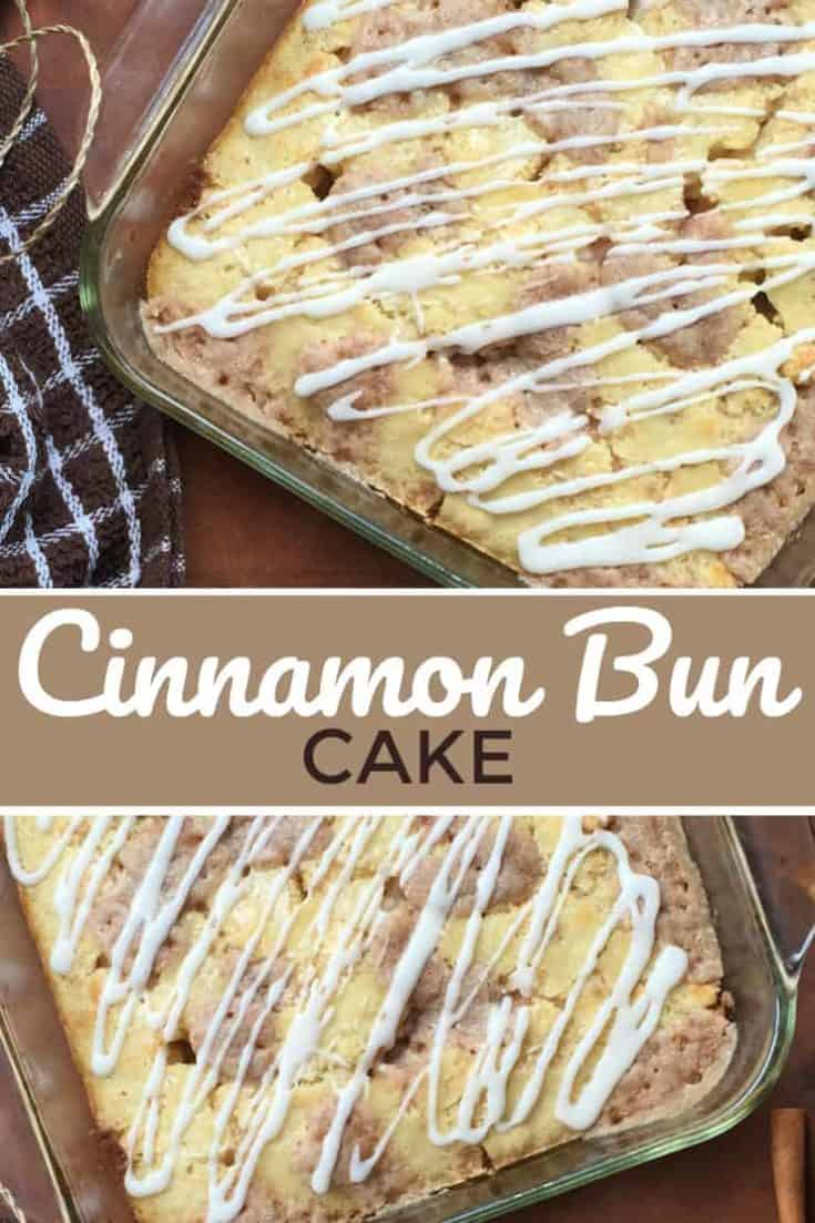 An example of 'wow, that was so simple' is this Cinnamon Bun Cake, a recipe given to me by a Mom in my daughters' class. A delicious Cinnamon Bun taste, in a cake form. You simple cannot beat this delicious dessert recipe! #cinnamonbun #cakerecipe