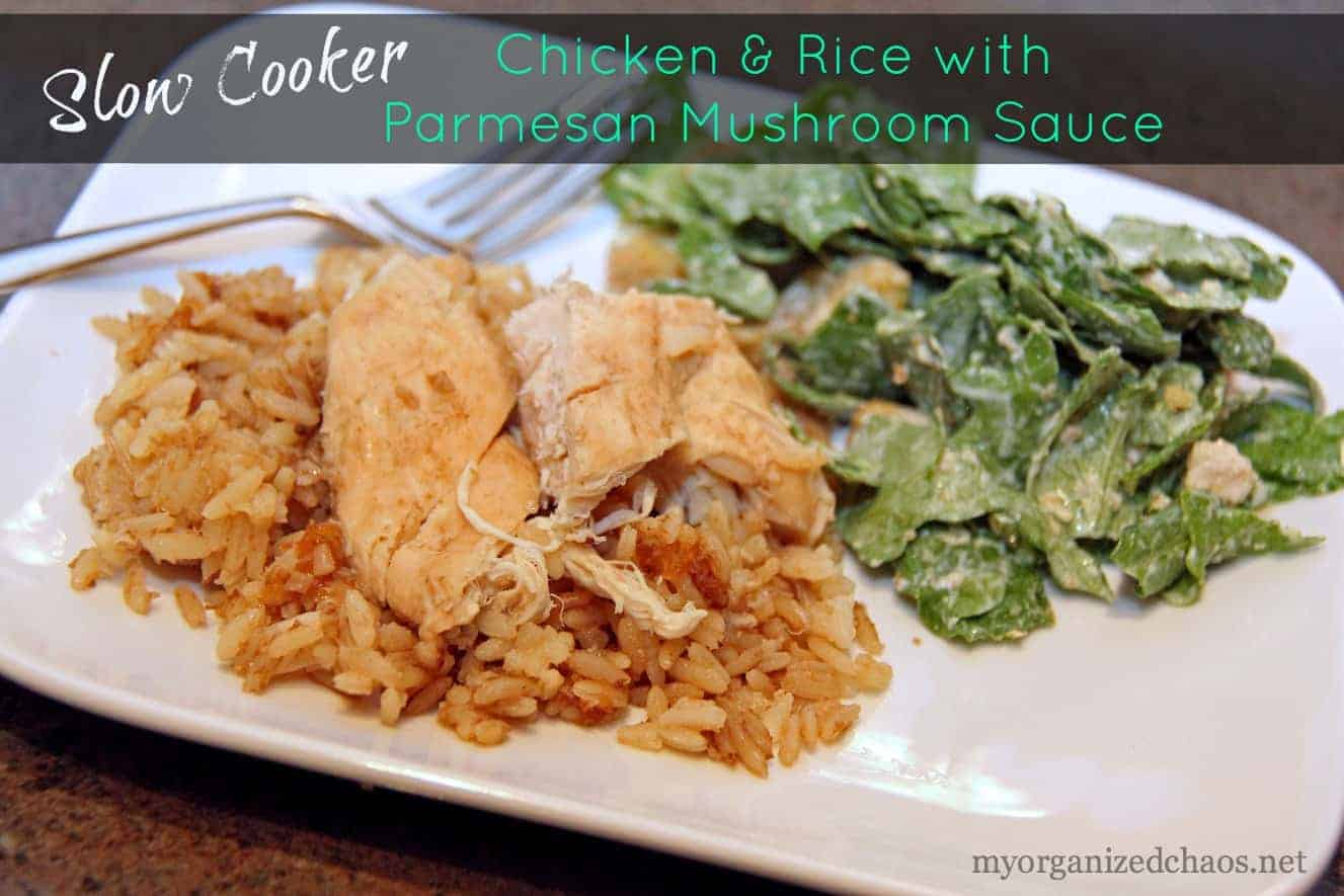 Slow Cooker Chicken and Rice with Parmesan Mushroom Sauce