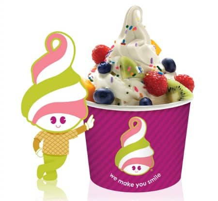 Menchie's Mascot leaning cup