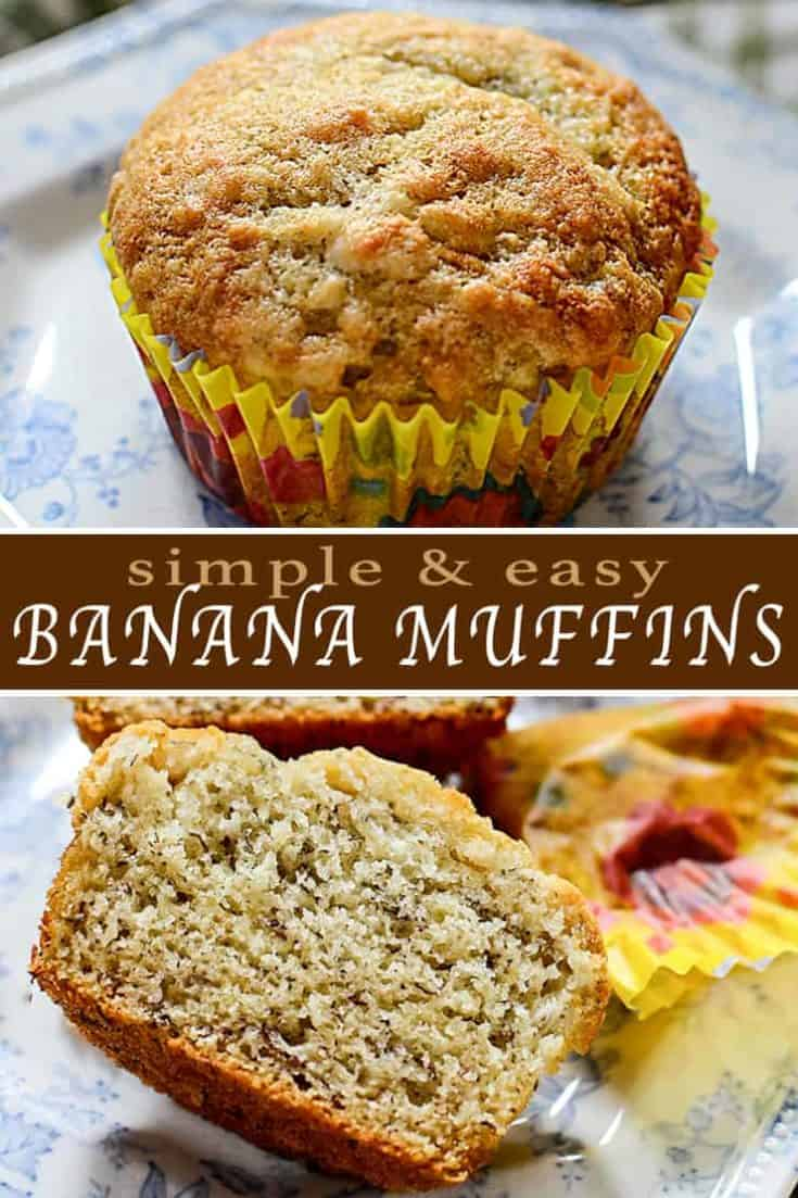 For a healthy and delicious muffin recipe, try these easy Banana Muffins. Classic, irresistible and full of moist flavour! For morning and school lunches! #bananamuffins #muffins