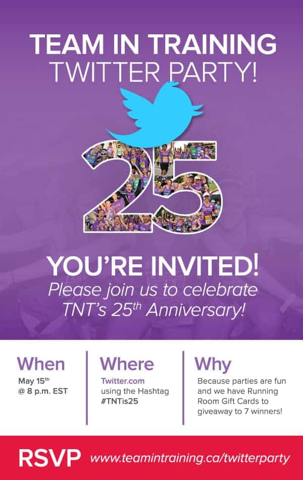 Come to the Team in Training Canada Twitter Party! #TNTis25