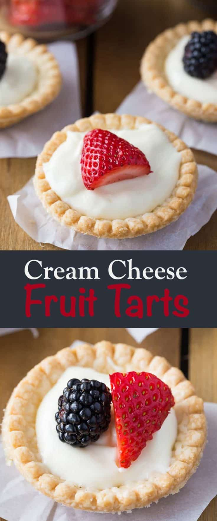This super simple dessert recipe for CREAM CHEESE FRUIT TARTS is what I'd consider the perfect Summer Dessert. Each shell is filled with a cream cheese pudding and topped with fresh fruit and berries - perfection in every bite! Great for potlucks and entertaining. #tarts #summertarts #creamcheesetarts #dessertrecipe #easydessert #summerdessert