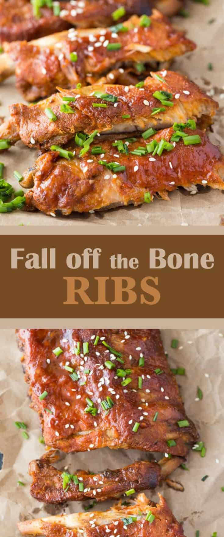 Thick, rich BBQ taste that you can't help but get all over the face. Winter or Summer, no one can resist Fall Off The Bone Ribs, beer barbecue style! #ribs #slowcookerribs #slowcooker