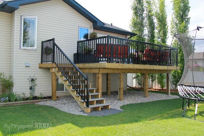Backyard renovation new deck reveal for Porch renovation ideas