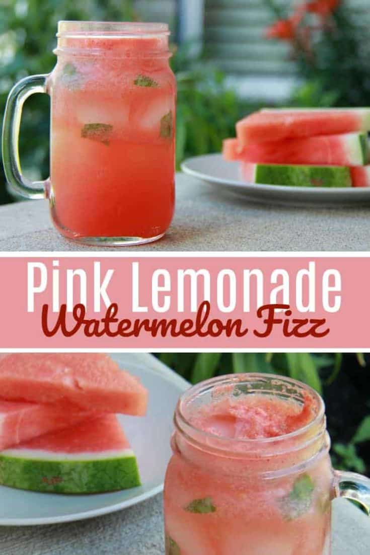 Classic and plain lemonade drink - kicked up a notch! This Pink Lemonade Watermelon Fizz taste can be described as 'the epitome of Summer'. Close your eyes and you taste what you have been waiting for, heaven in a glass. #pinklemonade #watermelondrink #drinkrecipe