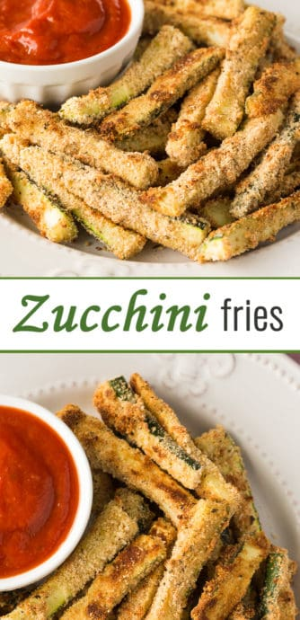 Easy and Delicious Baked Zucchini Fries recipe - a side, or a replica of a fancy appetizer you'd get at a restaurant, pair with marinara sauce for dip