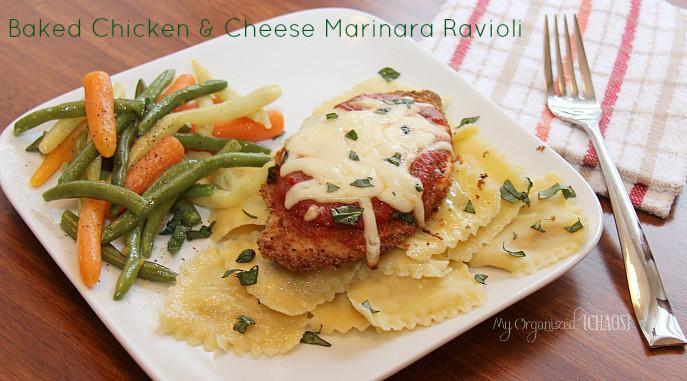 Baked Chicken Cheese Marinara Ravioli myorganizedchaos