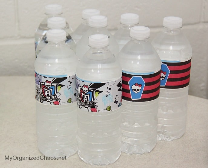 monster high water bottle labels