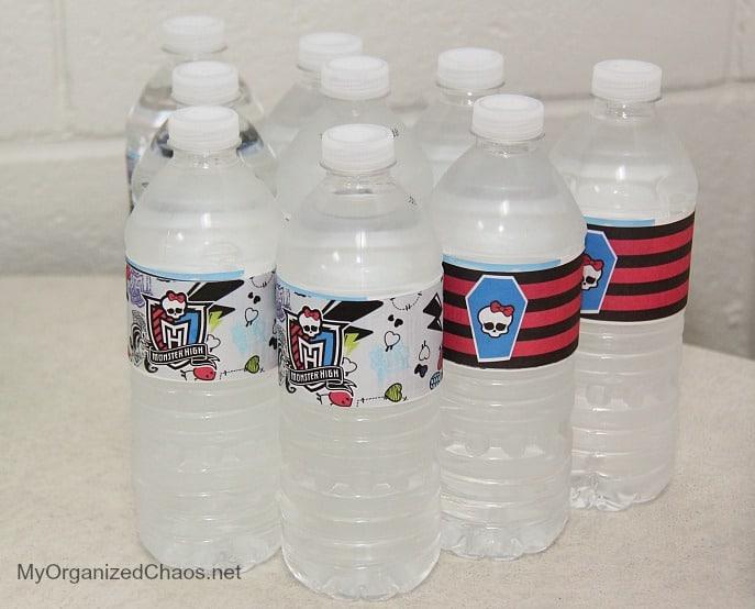monster high water bottle labels