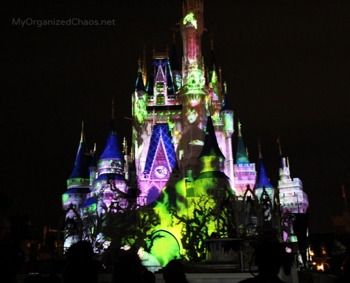disney world castle fireworks halloween party