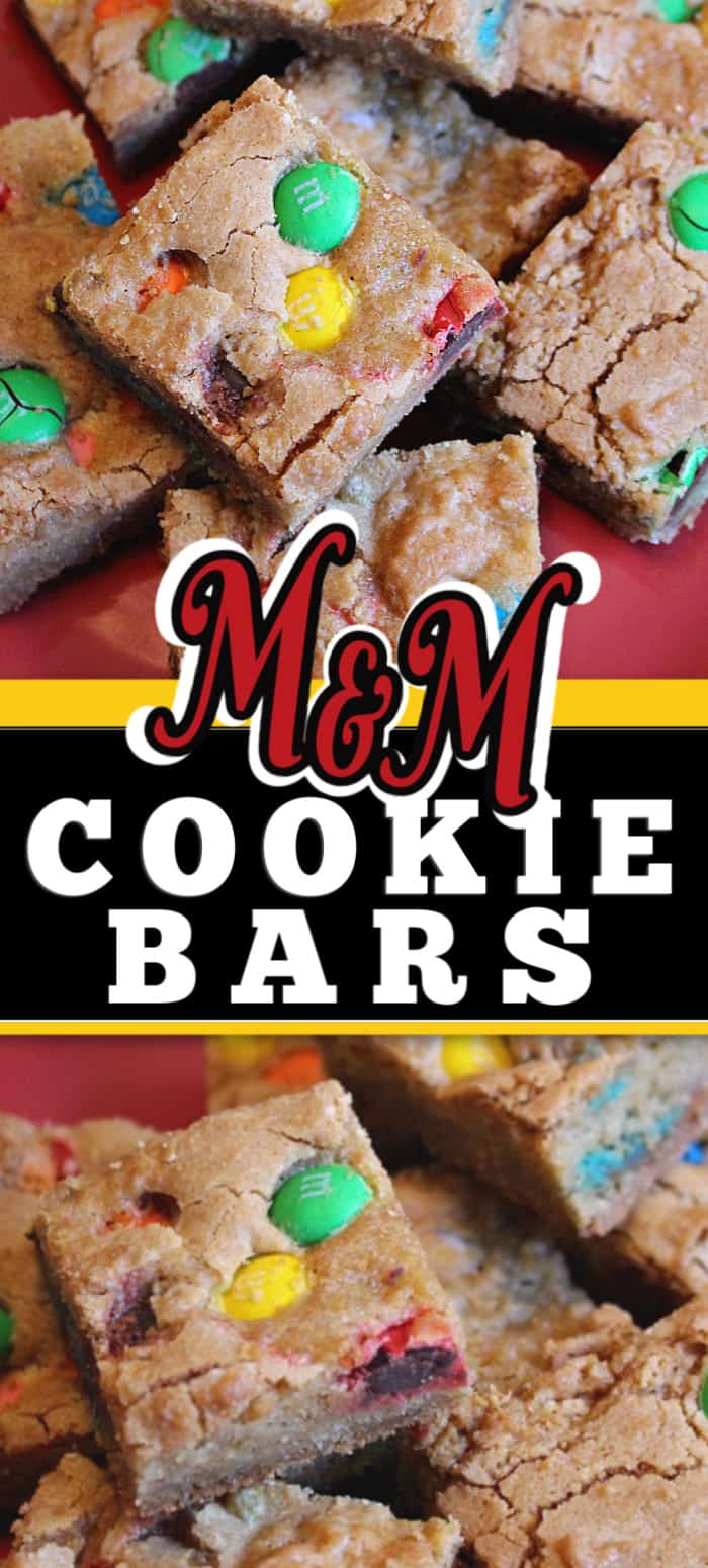 This easy and simple M&M Cookie Bars recipe is so delicious. Use candy that is holiday coloured to easily make this a themed treat for  Halloween, Easter or Christmas. Ideal for cookie exchanges too.  #cookiebars #cookierecipe #barsrecipe