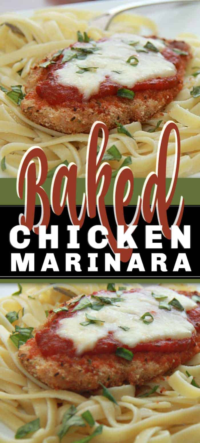 Baked Chicken Marinara chicken pieces coated with Parmesan and bread crumbs, fried and covered with a tomato basil marinara sauce, and topped with melted Mozzarella. #chickenmarinara #chickenrecipe #bakedchicken
