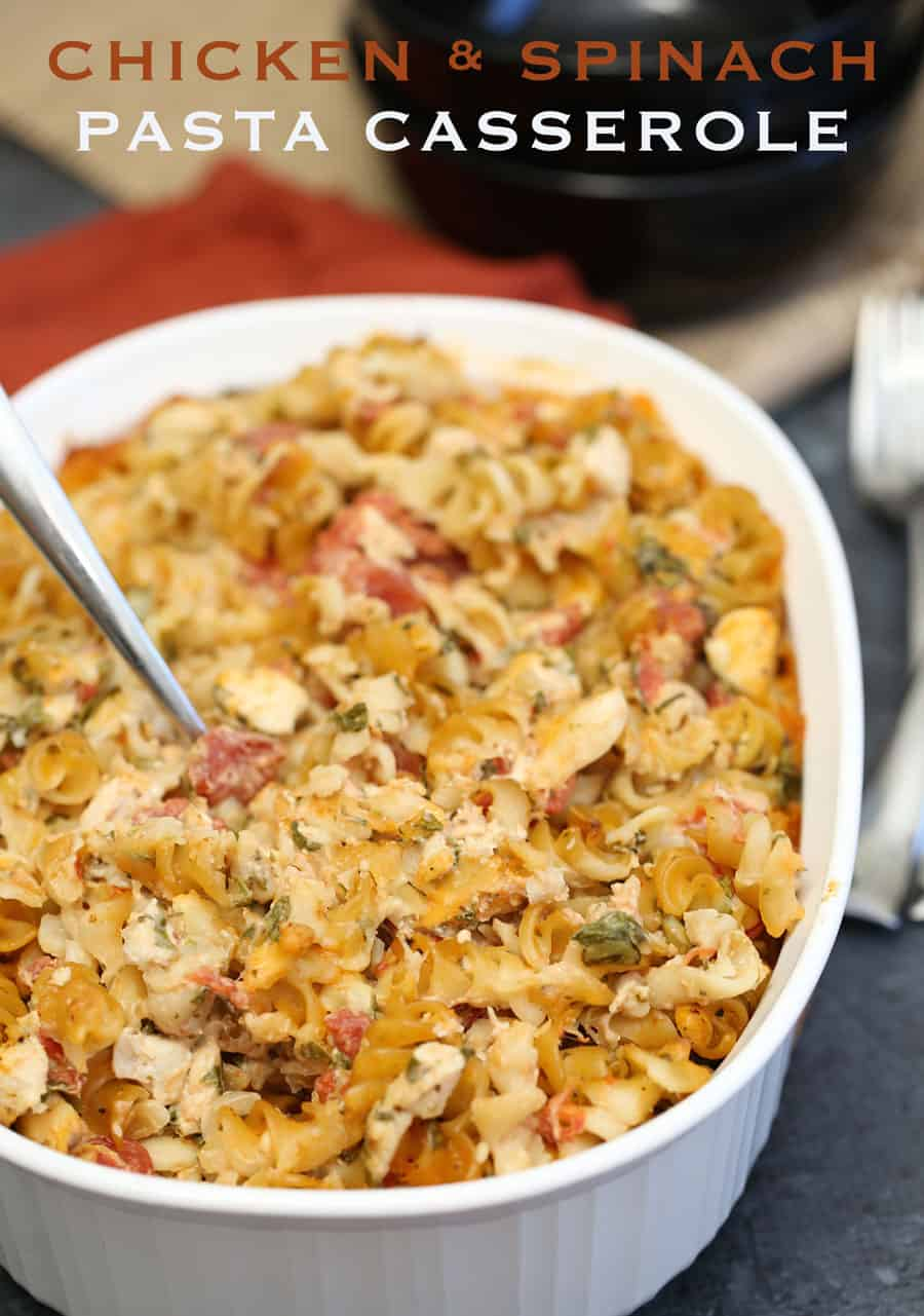 Chicken and Spinach Pasta Casserole is very easy to put together and can be refrigerated until you bake. The chicken, pasta, spinach and cheese combine nicely