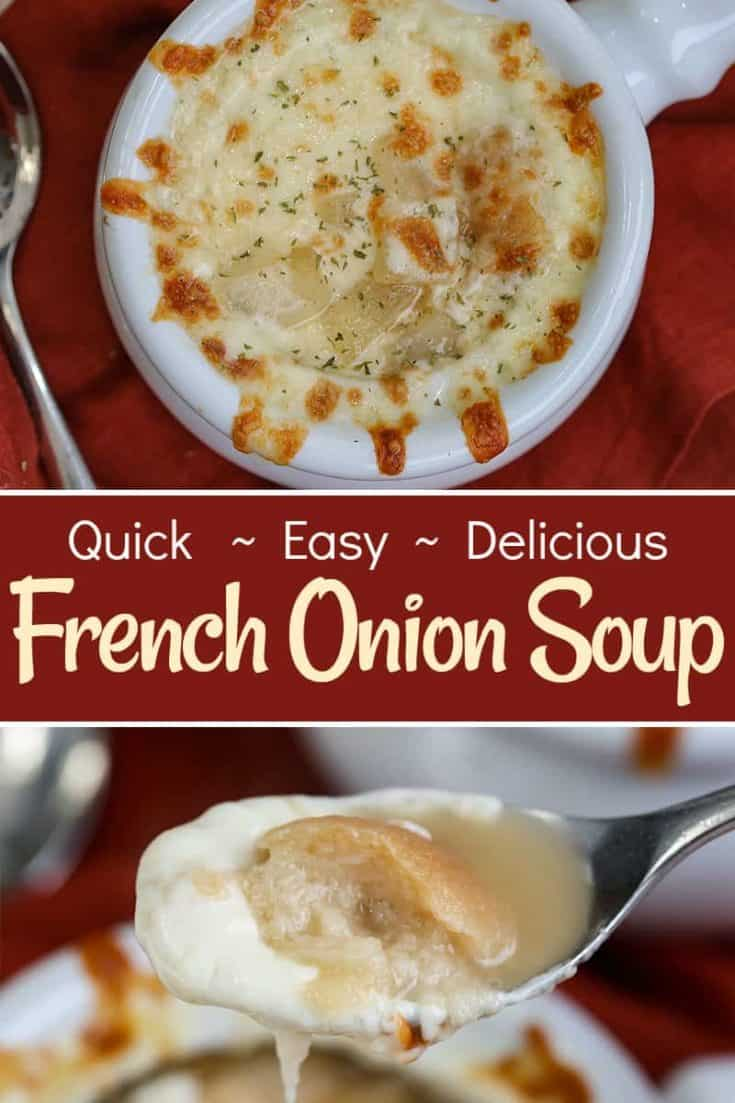 This Easy French Onion Soup recipe is the perfect saltiness and spice. Gooey cheese and a fantastic taste. A classic, quick and delicious soup recipe. #frenchonionsoup #souprecipe #easysoup #onionsoup