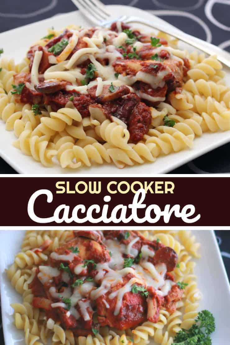 This Slow Cooker Cacciatore recipe is pasta, chicken, cheese, italian spices ... Score! The scent and taste is phenomenal - one of my favourite slow cooker pasta recipes of all time!