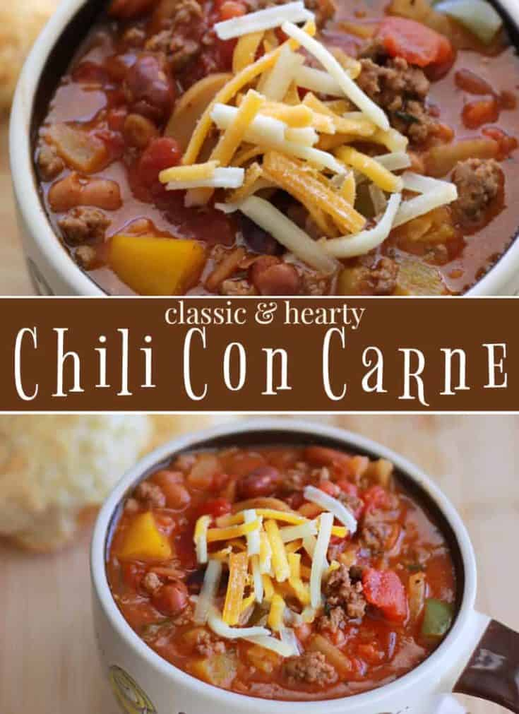 Classic Chili con Carne is the perfect cold-weather comfort food. Any night to watching the big game. Hearty and flavourful, it'll become your favourite #chili #chilirecipe