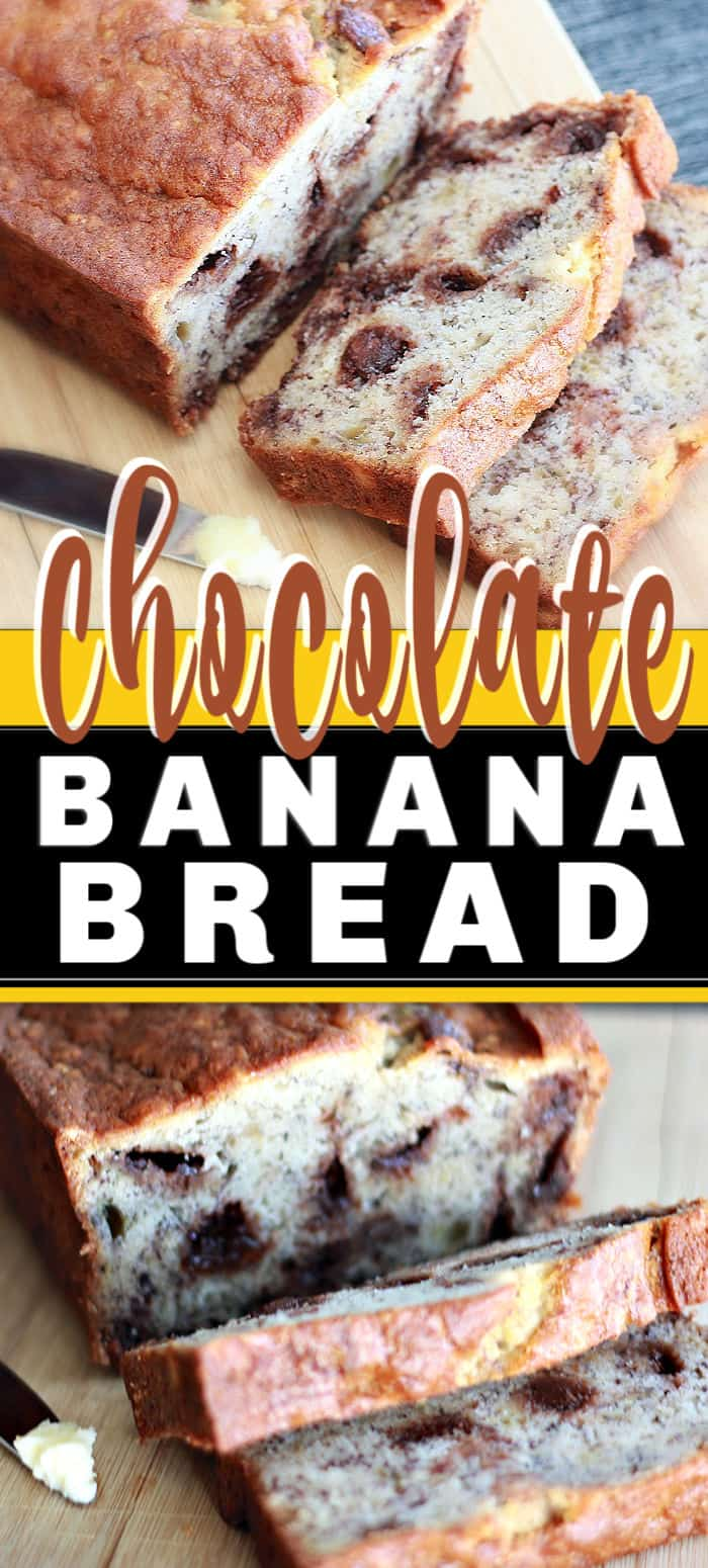 Easy Chocolate Chip Banana Bread, chocolate being optional, don't have to change the recipe at all except for the addition of the chocolate. Easy, right? #chocolatebananabread #bananabread