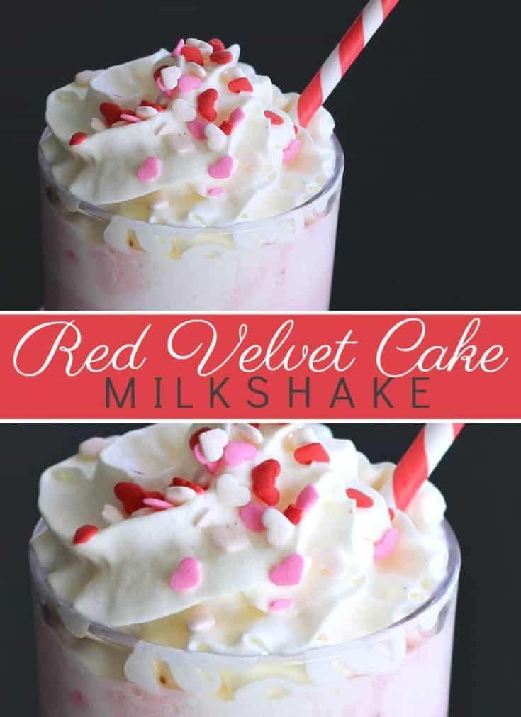 This Red Velvet Cake Milkshake recipe has a mouthwatering red velvet cake batter taste topped with whip cream and sprinkles. #milkshake #valentinesday #redvelvet
