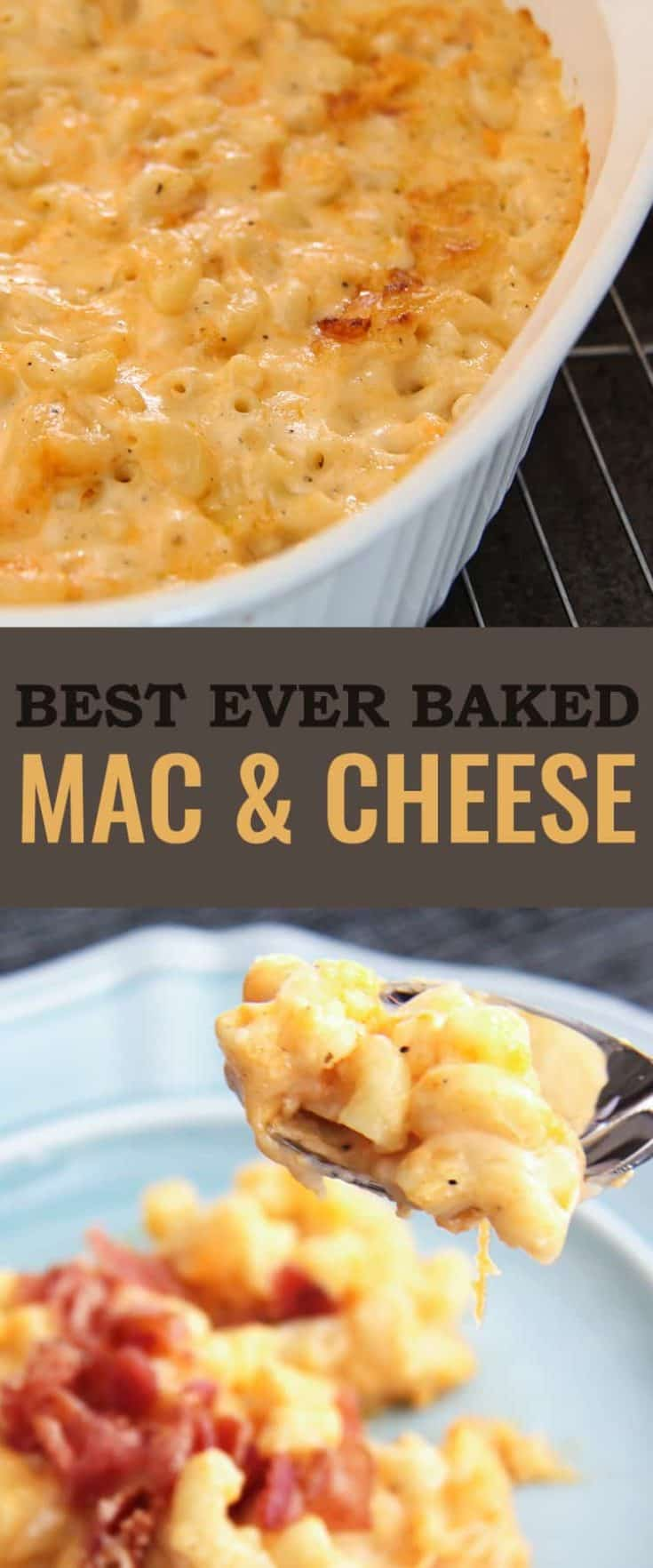 The Best Macaroni and Cheese - ever. Cheesy, gooey, full of flavour and with that crusted topping of cheese that we love from a casserole. #macandcheese #bakesmacandcheese #easyrecipe