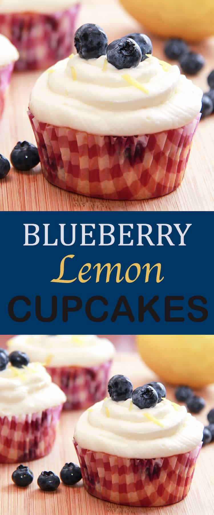 Blueberry Lemon Cupcakes - moist and fluffy cake and delicious cream cheese icing.