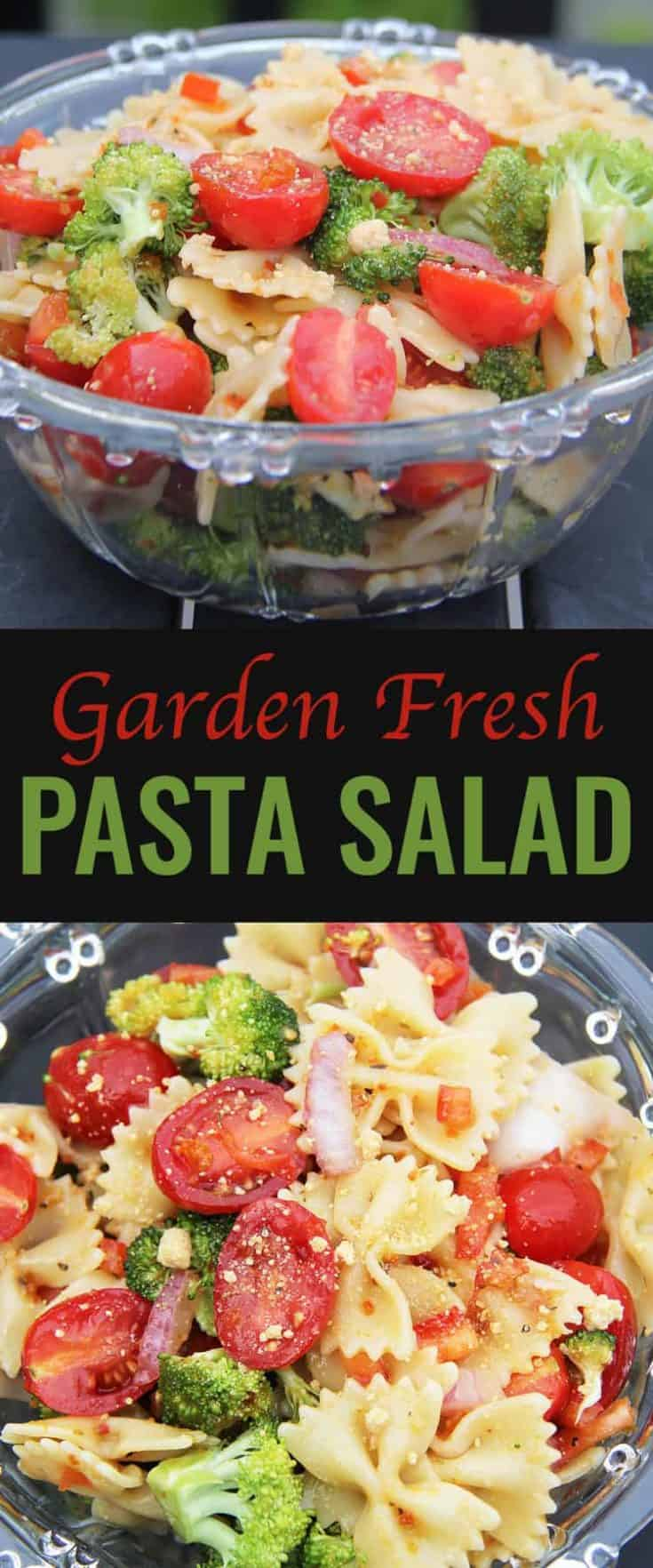 This Garden-Fresh Pasta Salad recipe uses fresh but common ingredients, and total ease in making it. Plus, I just cannot get enough cherry tomatoes right now! #pastasalad #salad #saladrecipe