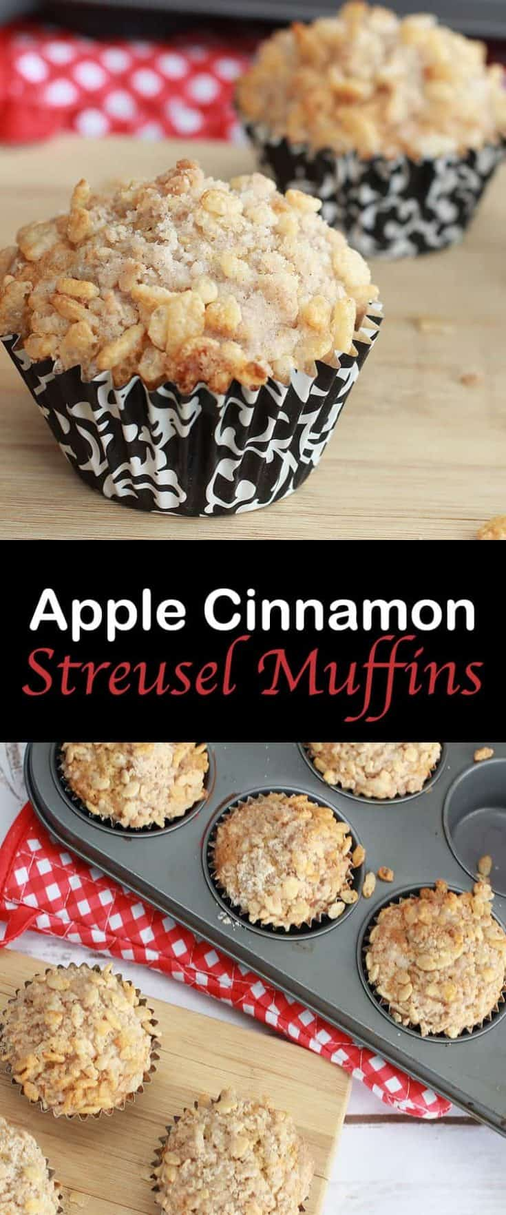 Apple Cinnamon Streusel Muffins are an easy and fun snack to send for school lunches, or for a great breakfast idea. #applemuffins #muffin #muffinrecipes