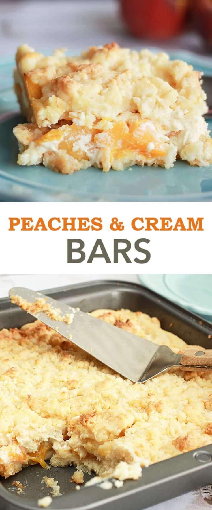 This Peaches and Cream Bars Recipe is a dessert made of fruit, white cake and cream cheese. Like a creamy peach cake, in bar form. #peachcake #peachbars #peachesandcream