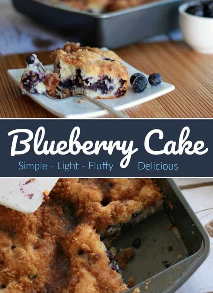 This Blueberry Cake recipe is fantastic. The cake is light and fluffy with the perfect amount of blueberries and a touch of sweetness with the brown sugar topping. #blueberrycake #cakerecipe