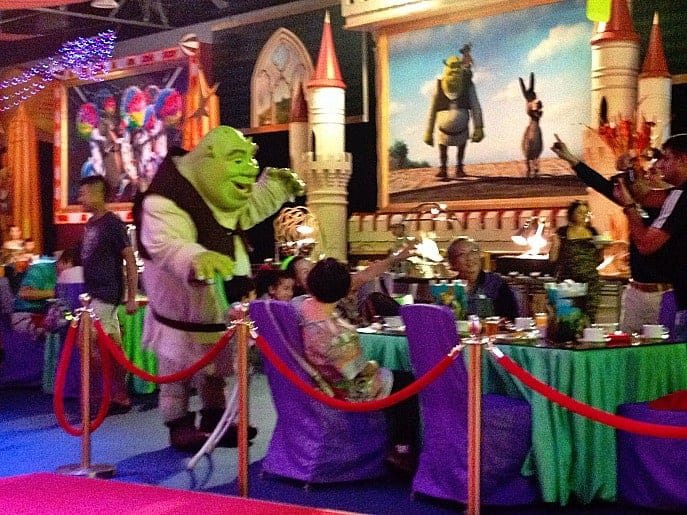 family travel Sheraton Macao shrek character meal