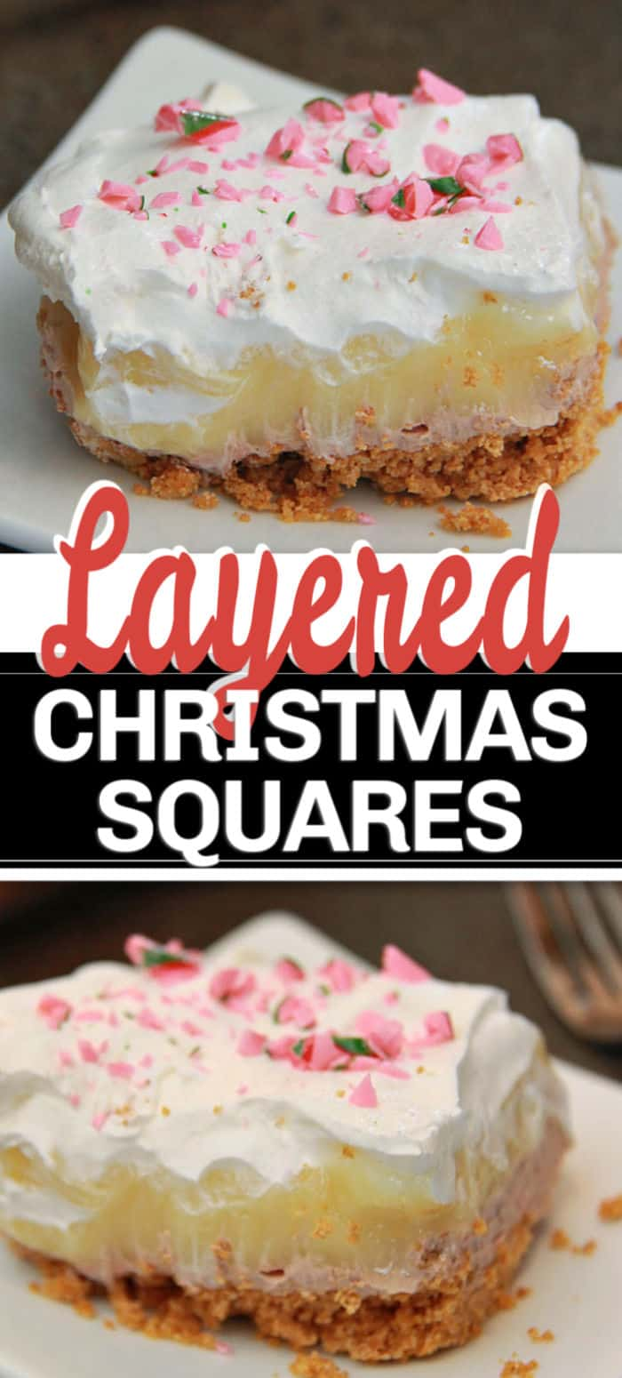 layered dessert squares with crushed candy cane topping