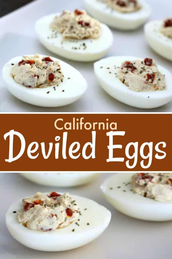 California-Style Devilled Eggs that includes sun-dried tomatoes, basil, balsamic vinegar. This recipe makes for the perfect appetizer! #deviledeggs #appetizer
