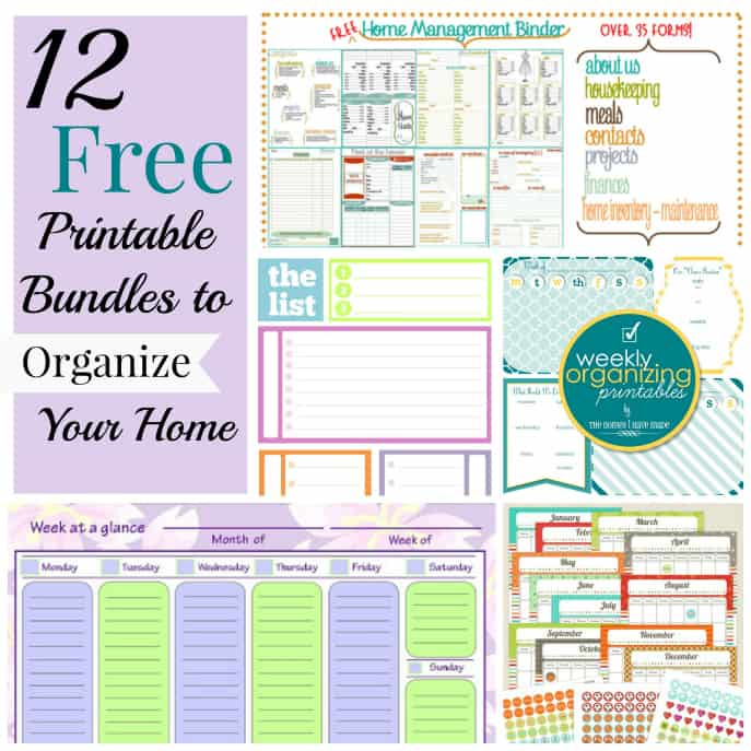12 free printable bundles to organize your home