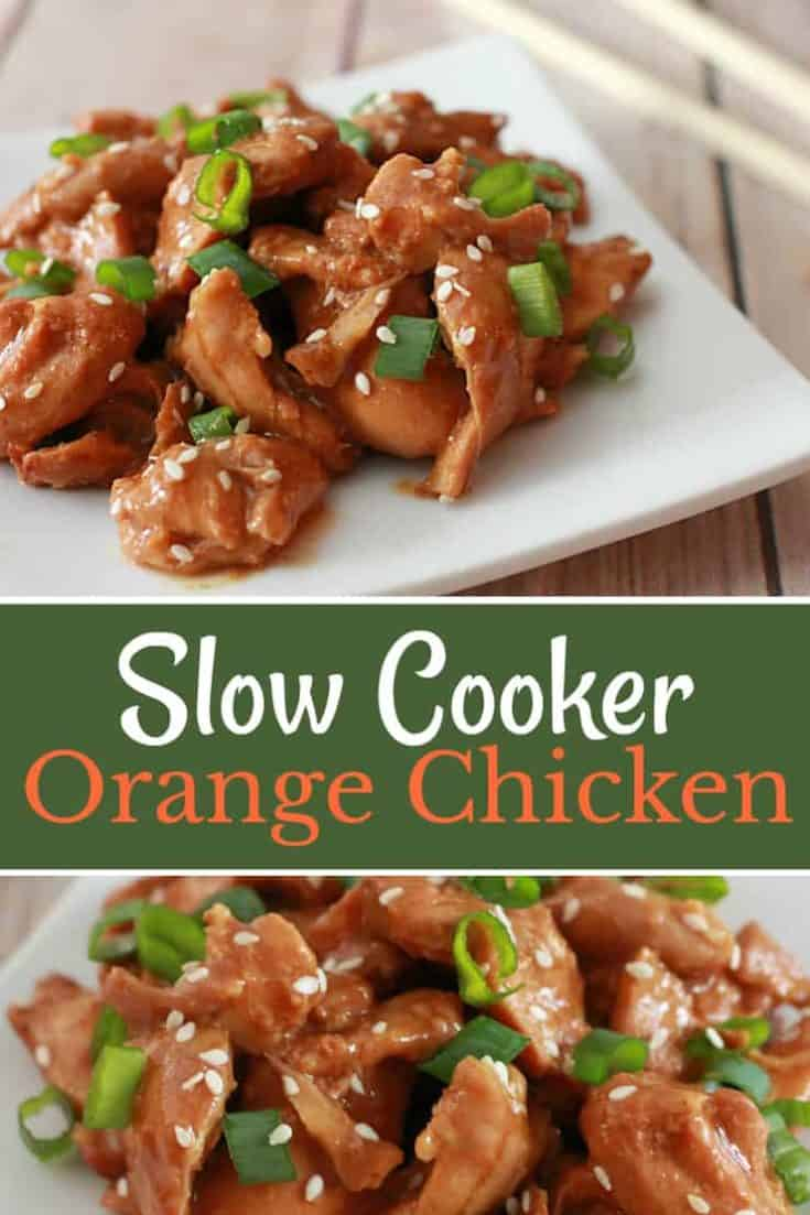 Slow Cooker Orange Chicken - using few ingredients, this recipe is a little sticky, a tad sweet and full of comforting flavour! #slowcooker #orangechicken #chicken #slowcookerchicken #easyrecipe