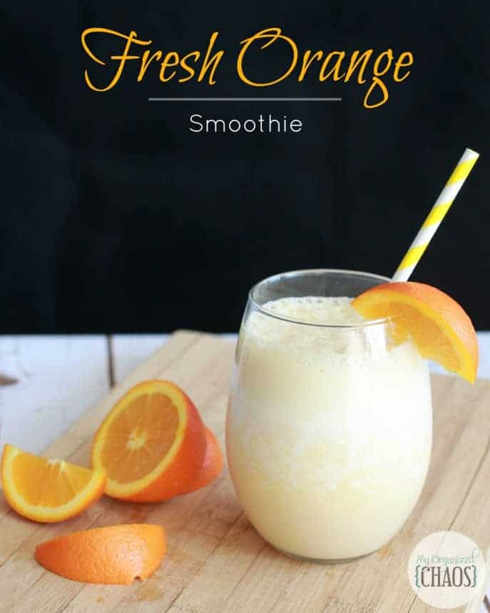 Fresh Orange Smoothie recipe with orange, vanilla, milk and egg whites. Tastes like Orange Julius, yet loaded with vitamins and protein! #orangesmoothie #orangejulius #smoothie