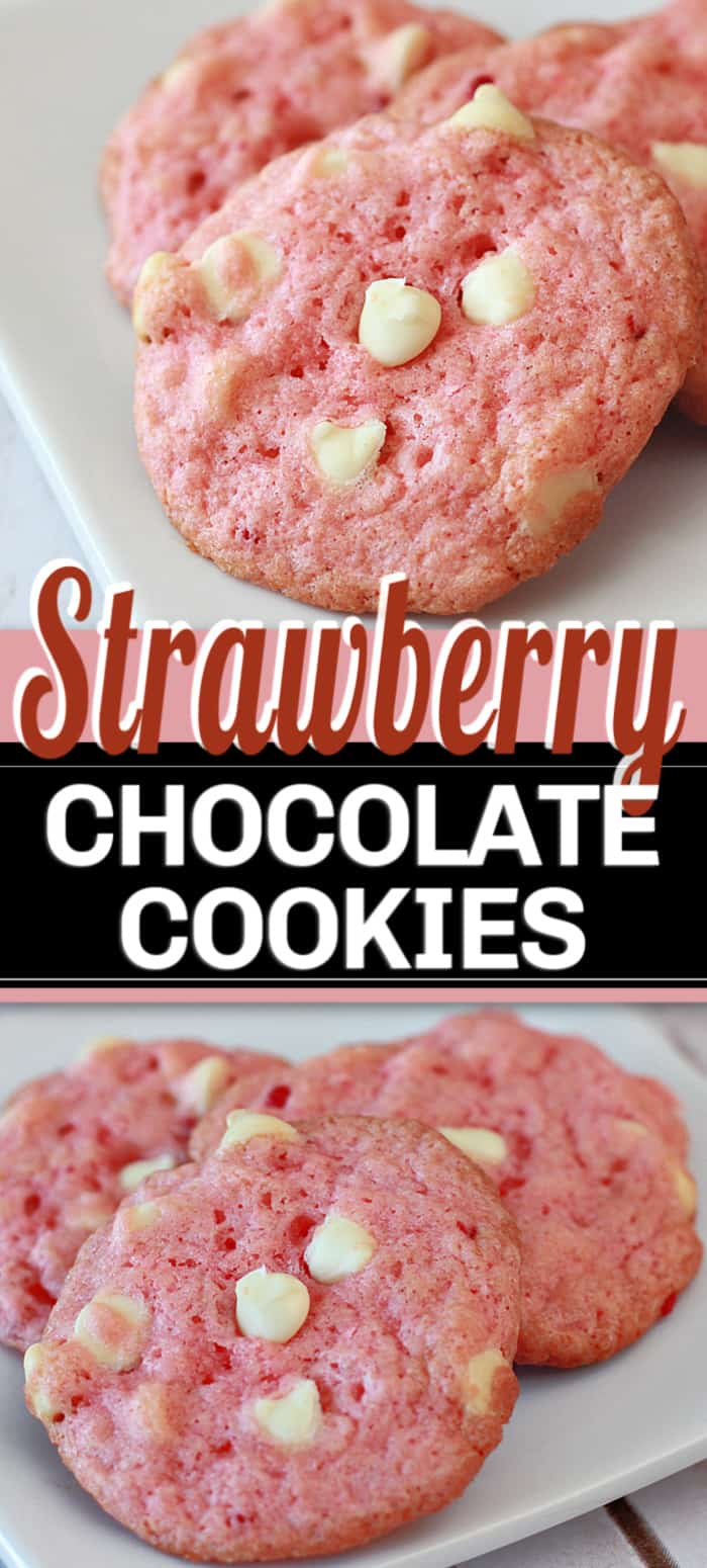 Strawberry Chocolate Chip Cookies, made with strawberry cake mix, vanilla and white chocolate chips. It's a heavenly tasting and looking cookie recipe! #cookies #strawberrycookies #chocolatecookies