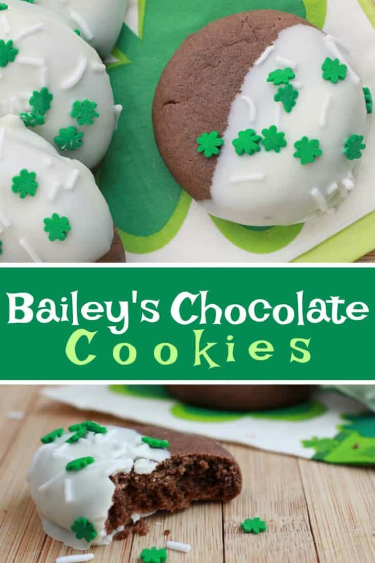 Baileys Chocolate Cookies are St. Patrick's Day soft cake Cookies, but you'll want to make them anytime. They are the best cookie recipe ever! #cookies #cookierecipe #stpatricksday